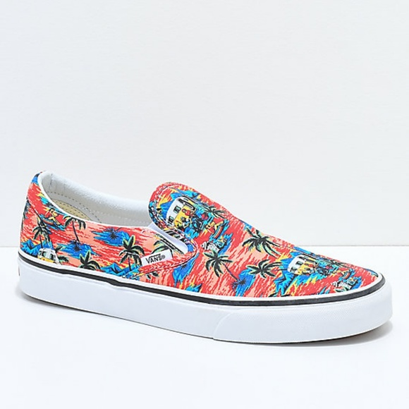 e6776f995d46fd Vans Slip-On Dystopia Red Blue White Skate Shoes. M 5bd354e1de6f62b4cb139185